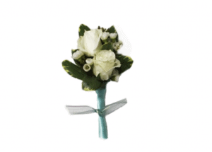 This is a prom boutonniere with a rose and waxflower.