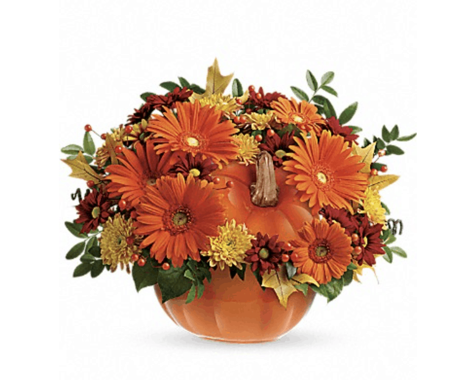A Different Way to Use Pumpkins with Floral Decor